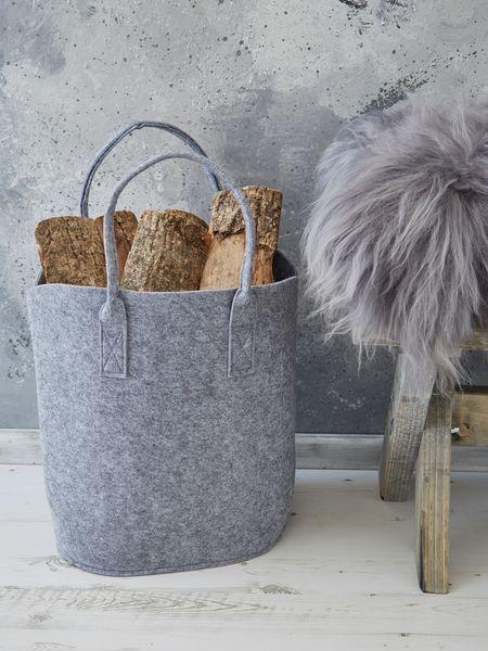 Felt+Basket+-+Light+Grey