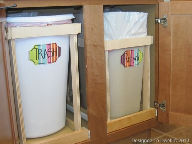 diy pull out trash can and recycling bin for the home. Black Bedroom Furniture Sets. Home Design Ideas
