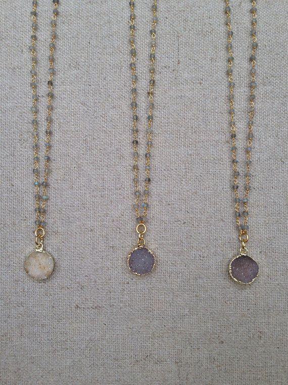 Labradorite Wire Wrap Chain Necklace with Mini Druzy Pendant