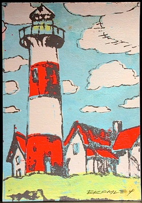 "DAVID BROMLEY ""Lighthouse"" Screen Print on Card, Artist Proof, Signed 55cm x 39cm"