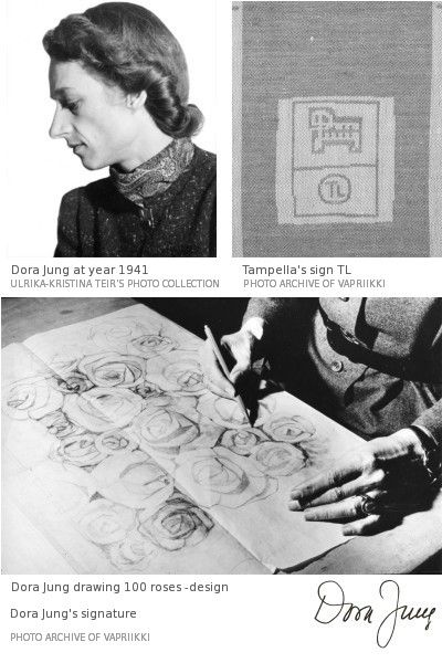 Dora Jung 1906-1980   Renowned worldwide, a Finnish textile artist, craftswoman, and industrial designer who during her career spanning over five decades, created design products and works of art out of linen, for homes, churches, and public premises. TL= Tammerfors Linne