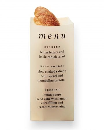 Vellum Bread Sleeve Menu