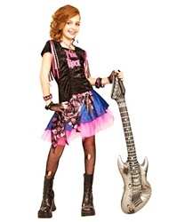 Be a Rock Star in this Pink Rock Girl Costume. Includes dress w/attached beads & chain. Does not include earrings, necklace, bracelets, stockings, boots, gloves and guitar.