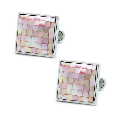 Square Mosaic Pink Shell Cufflinks  Color: Pink Material: Rhodium coated brass, Shell Size: about 1.7cm x 1.7cm  Beautiful leatherette box included.