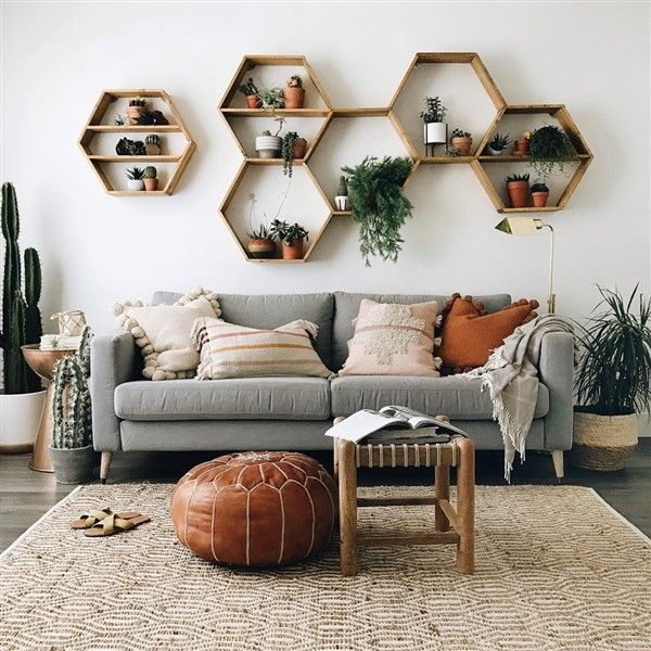 Adorable Honeycomb Hexagon Wall Shelf Ideas Unique Balcony Garden Decoration And Easy Diy Ideas Boho Living Room Living Room Decor Living Decor #shelf #designs #for #living #room