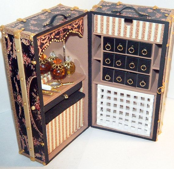 dollhouse miniature victorian vanity steamer trunk w by aneke