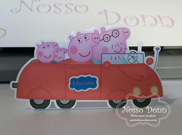 Carro caixa Peppa Pig Ideal para lembrança, centro de mesa ou decoração.  Com espaço