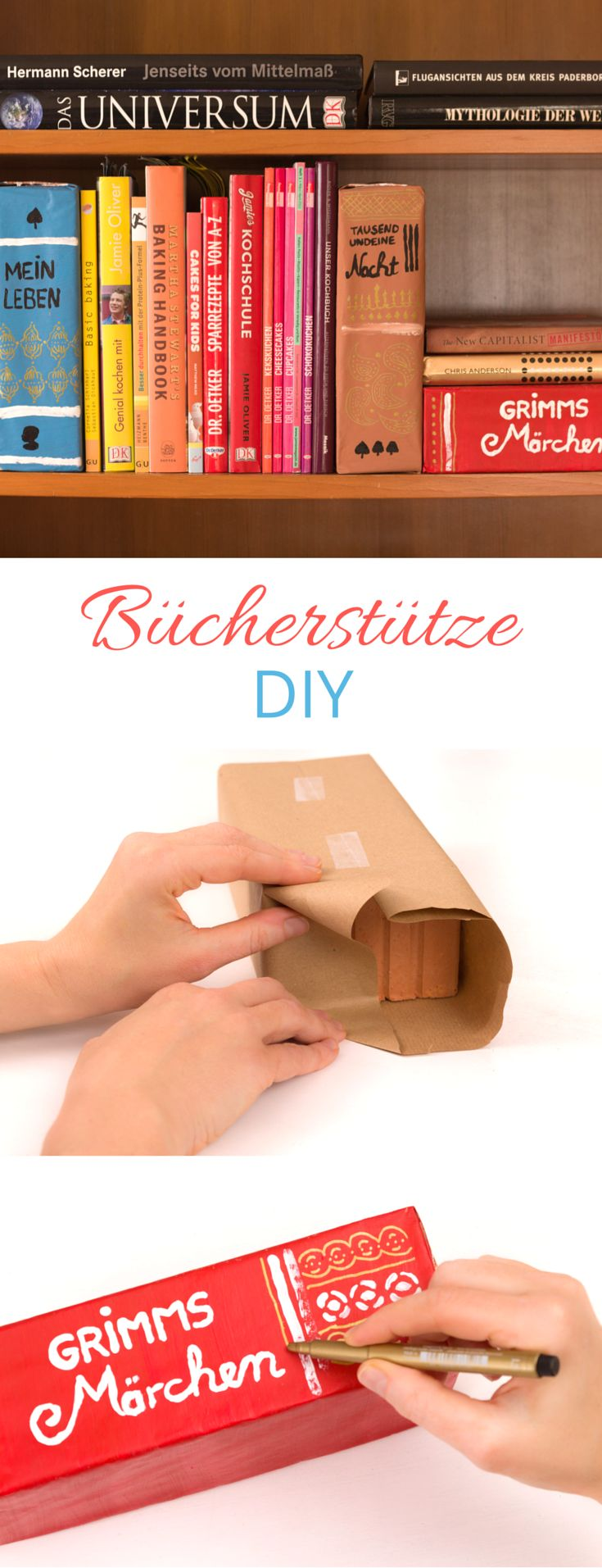 DIY Buchregal organisieren und verschönern - Buchstütze ganz einfach selber aus Ziegelsteinen ❤︎