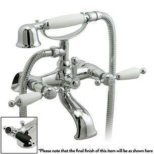 Vado Kensington Exposed Wall Mounted Bath Shower Mixer With Shower Kit - Chrome / Black