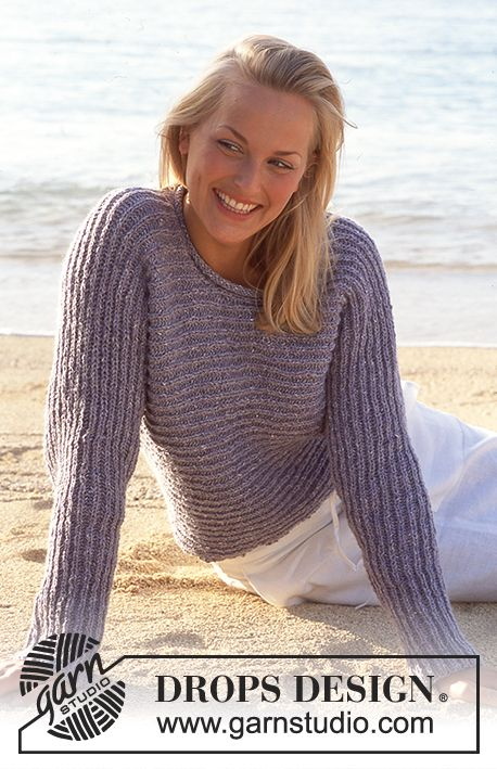 Patentstrikket DROPS genser i Angora-Tweed strikket fra side til side