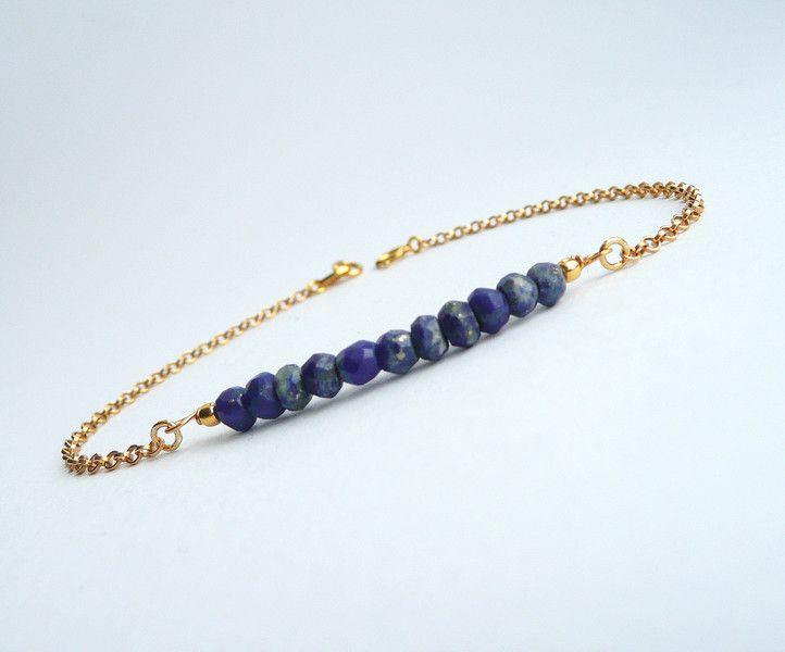 Bijoux dorés, 24K vermeil d'or, bracelet lapis lazuli est une création orginale de Mona-Design sur DaWanda