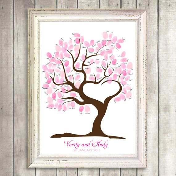 Thumbprint tree!  Have guests each put a thumbprint on a branch and sign their names.  Very cute!