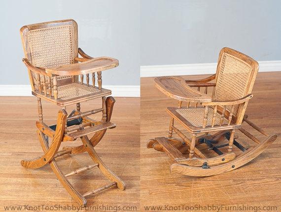 Antique Baby Rocking Chair / High Chair by shabbygirlglendora, $175.00