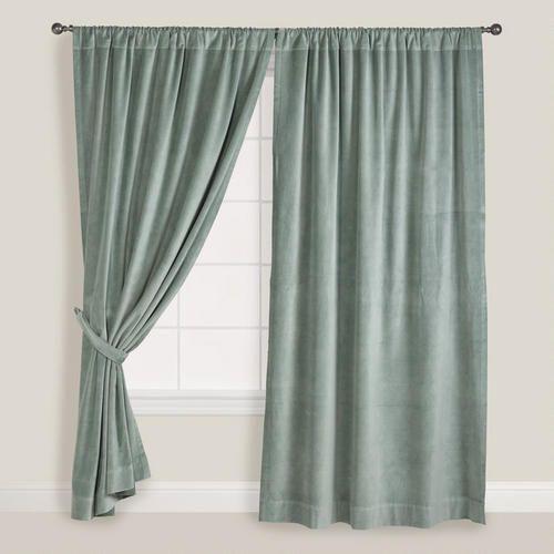 One of my favorite discoveries at WorldMarket.com: Slate Green Velvet Curtain