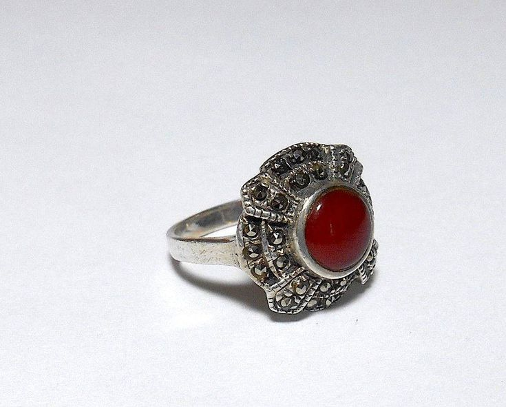 #HAUNTED Carnelian & #Marcasite #silver Sz 6 #OCCULT RING http://etsy.me/2nJZUiJ #talisman #oddities #macabre   #psychic_power  #mojo#sorcery#enchantment#conjure #potions#oddities#steampunk#Parapsychology
