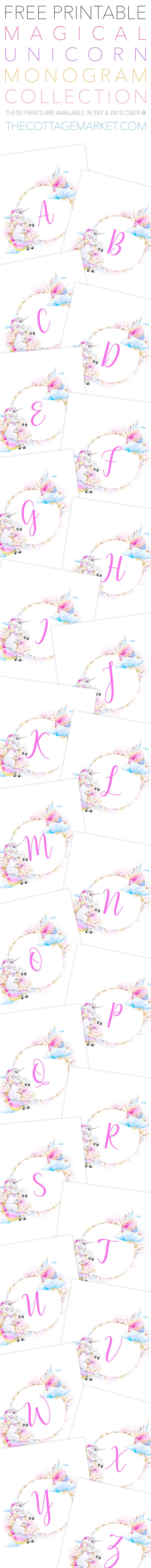 Today we have something extra SPECIALfor you, the Free Printable Magical Unicorn Monogram Collection. They are perfect for so many things and don't they look so delightful!? They come in 5X7 & 8×10, but they can be resized so you can use these Letters for Banners, Buntings, Gift Tags, Weddings, Greeting Cards, Place Card Settings, …