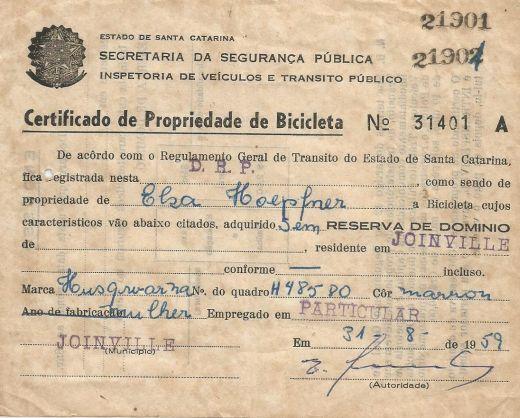 Certificado de Propriedade de Bicicleta Husqvarna 1959  Arquivo pessoal, Rosana B. Martins
