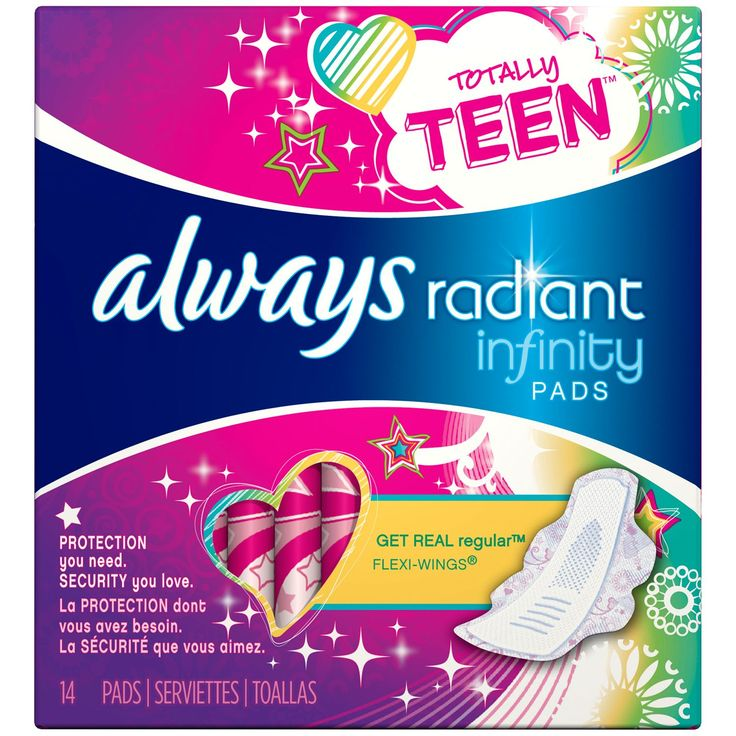 Procter & Gamble Radiant Always Radiant Teen Regualr with wings unscented Pads 14 count Feminine Care 14 CT Pack