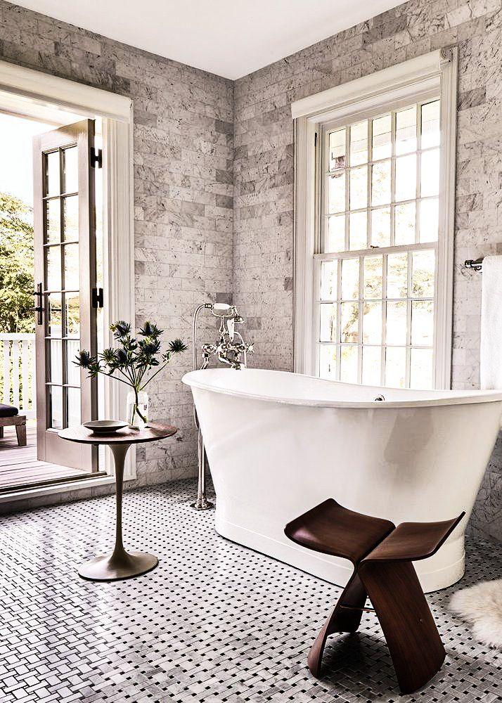 what an incredible master bath. Free standing tubs making everything more elegant