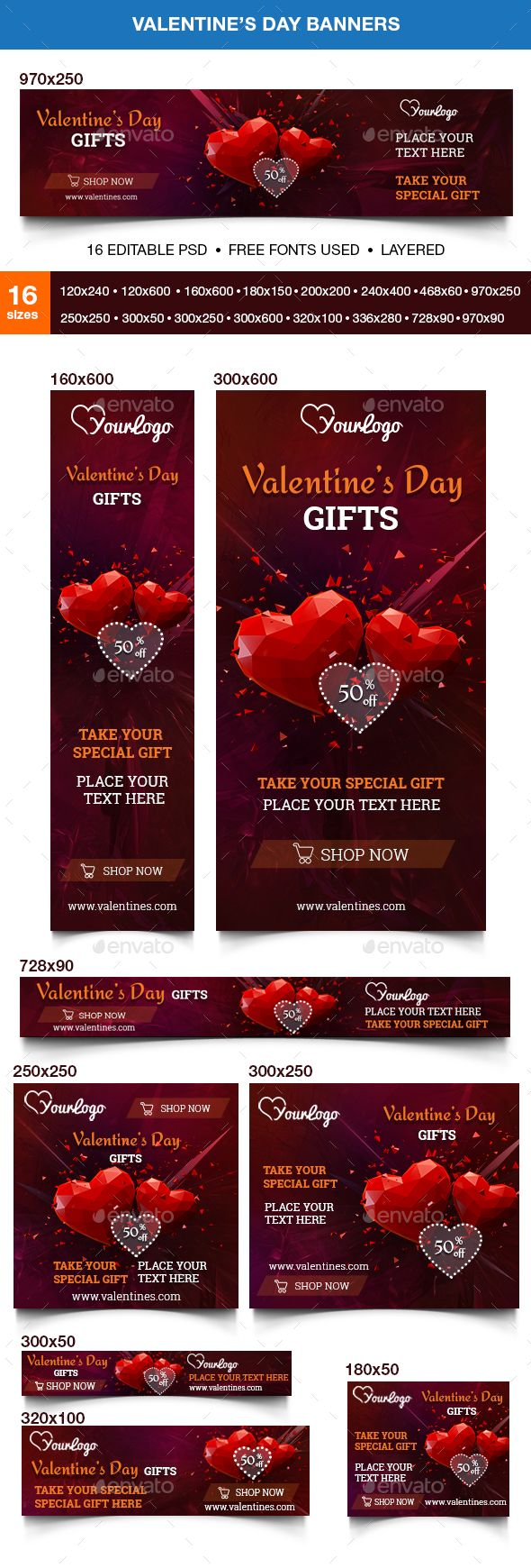 Valentines Day Web Banners Template PSD. Download here: http://graphicriver.net/item/valentines-day-banners/14614843?ref=ksioks