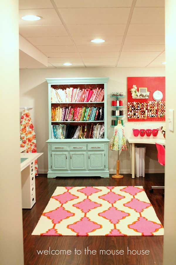 Share Tweet Pin Mail A Colourful Basement Craft Room There are so many things I love about this basement craft room! The colour being ...