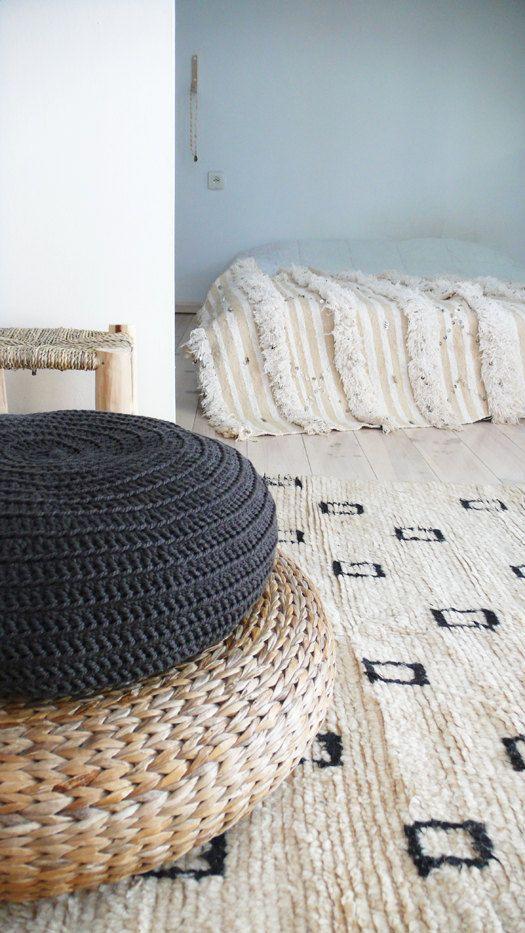 Floor Cushion Crochet  very dark gray por lacasadecoto en Etsy, €52.00