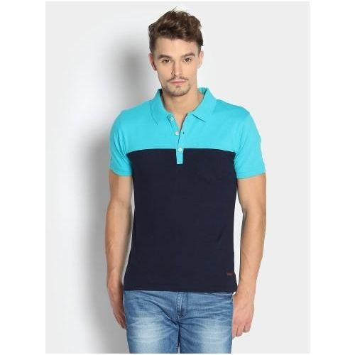 Looksgud.in - Buy abof Men Blue Polo T shirt online in India at best price. Blue knitted polo T-shirt, has a ribbed polo collar, short button placket, short sleeves with ribbe
