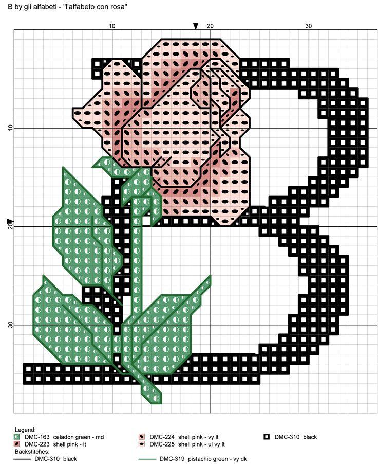 alfabeto con rosa: B