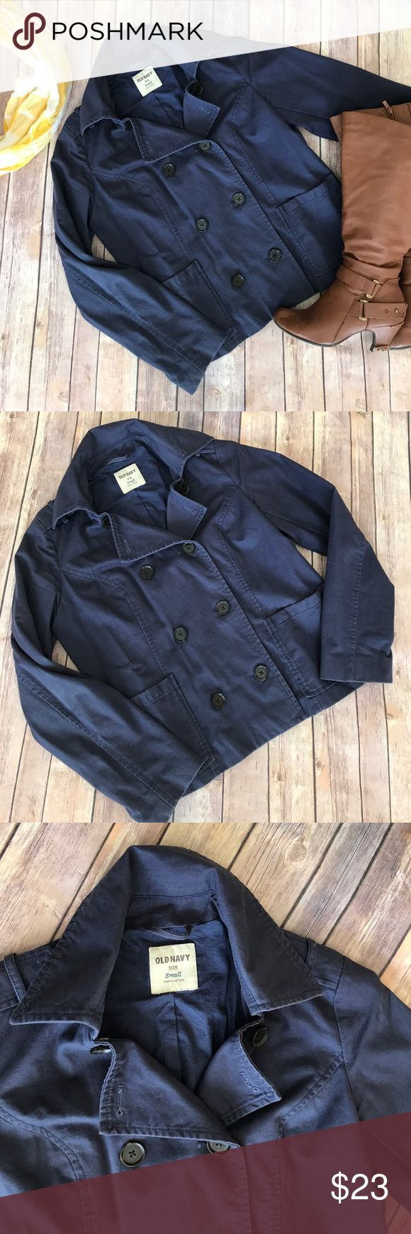 {Old Navy} Navy Blue Double Breasted Light Jacket Excellent condition cotton pea coat. Light weight and perfect for fall and early spring! Old Navy Jackets & Coats Pea Coats