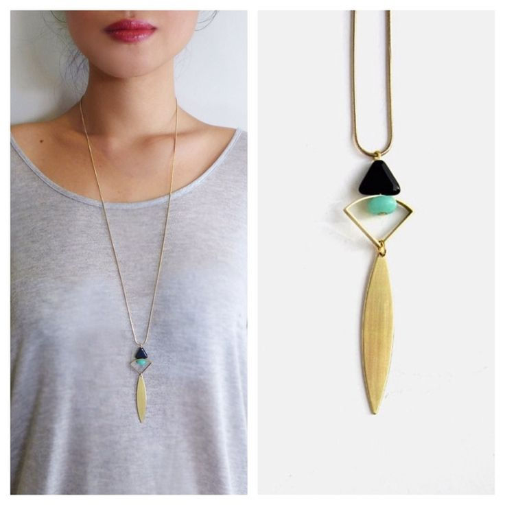 A dainty necklace with brass components, Aventurine bead and Czech Glass triangle bead