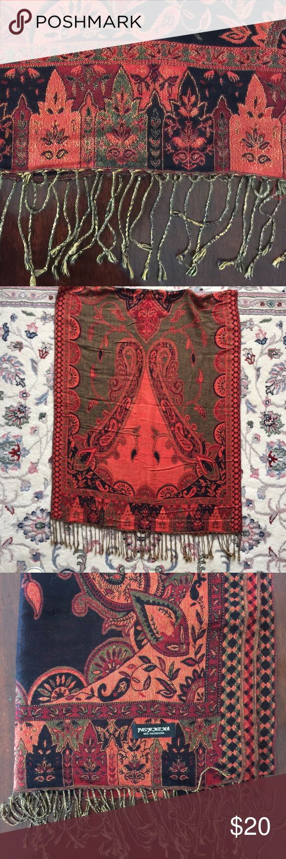 """Large Cashmere Pashmina Shawl 28"""" by 80"""" 100% pashmina. Made of cashmere. Very soft. Excellent condition, only used once. Accessories Scarves & Wraps"""