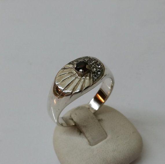 Granat-Ring mit Kristallen 925 Silberring SR451 von Schmuckbaron