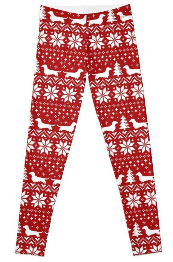 Dachshunds Christmas Sweater Pattern Leggings #wienerdogchristmas