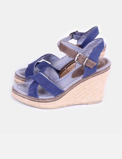 Sandalias en azul marino de cuña Maria Mare