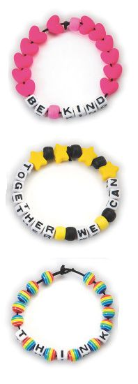 Have students create bracelets with inspiring messages for Bullying Prevention Month