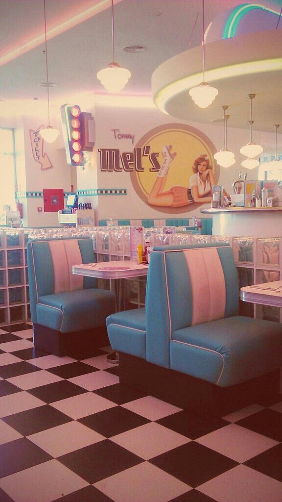 I can imagine a beautiful lady enjoying her vanilla milkshake, sitting down in one of those seats. Her hair is short with blonde curls, white gloves and a trench coat. A greaser walks in dressed in leather.... You can choose the next thing that happens.