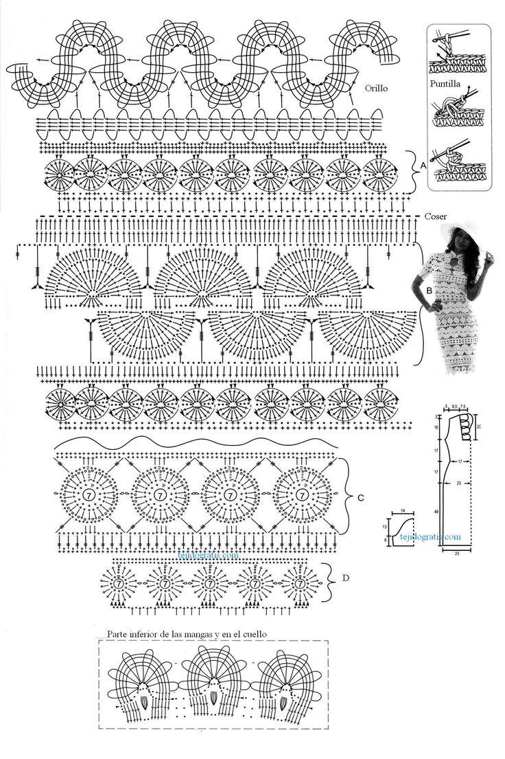 Patrones de Tejido Gratis - Vestido con tiras de encaje: Irish Crochet, Crochet Dresses, Crochet Knits Dresses Skirts P, Used Lace, Crochet 22, Crochet Stitches, Tissue, Crochet Tat