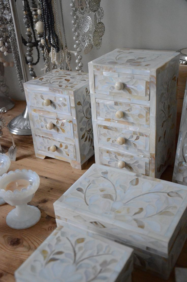 Mother-of-pearl inlay boxes and drawers