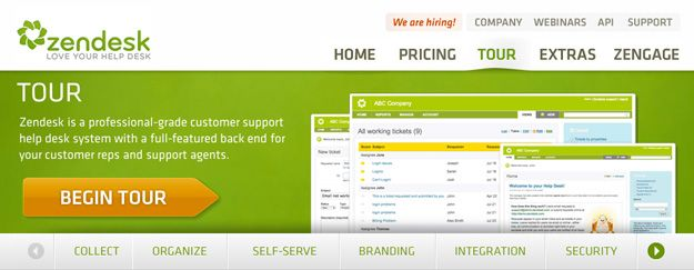 Clear Call-to-action, beginning with a verb. (In carrousel)  Zendesk Carousel Funnel Example