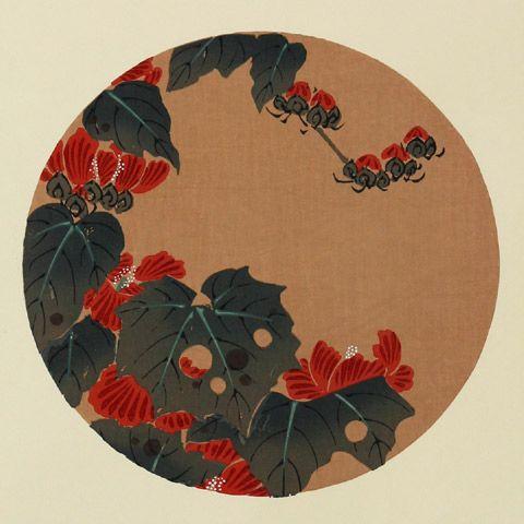 伊藤若冲『蜀葵(たちあおい)』-「花卉図天井画」