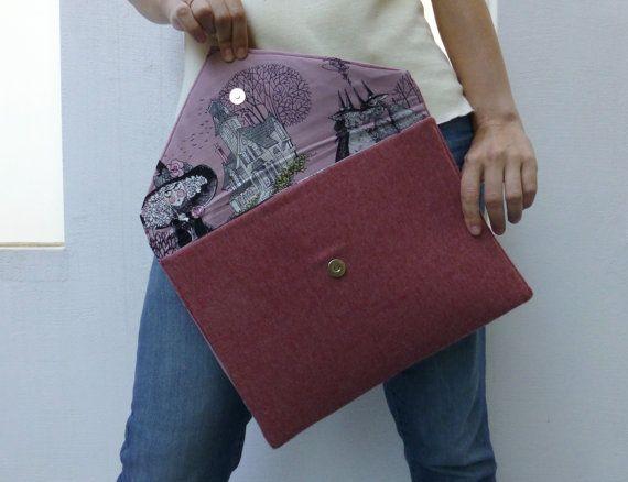 wool fabric oversized clutch bag in peach by ElliandPaul