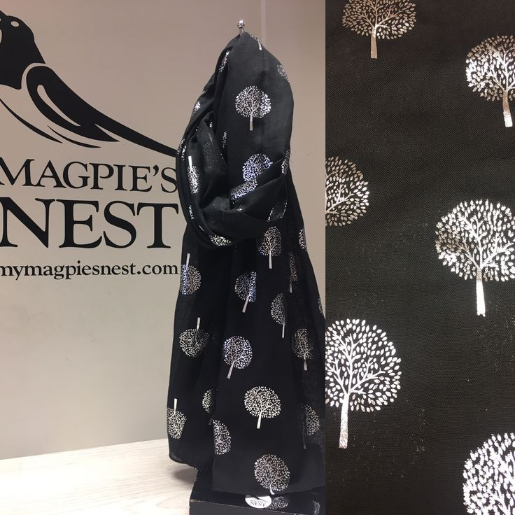 Black foil tree print scarf available in store and online www.mymagpiesnest.com