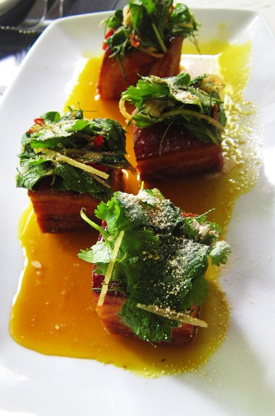 Pork Belly medallions served with a sticky, citrusy caramely sauce, at Spirit House in Yandina
