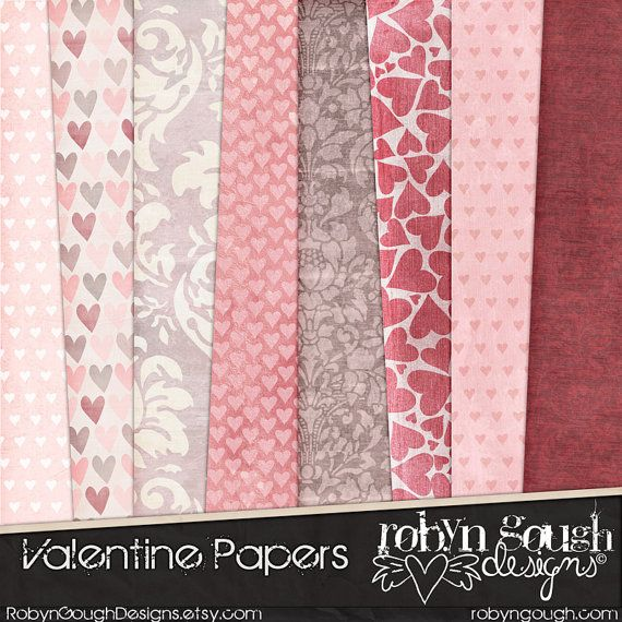 Valentine Digital Paper Pack - Shabby Love Heart Digital Scrapbook Background Papers by Robyn Gough on Etsy, digiscrap, digital scrapbook, digital scrapbooking