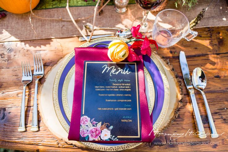 Our Burgundy Lamour napkin is the perfect touch of color for this rustic table setting