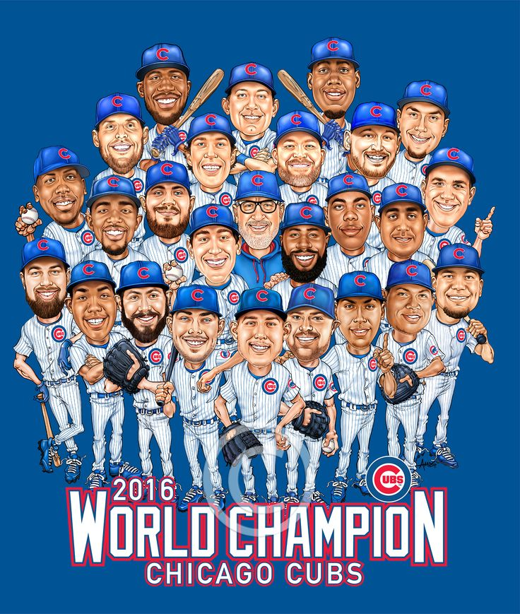 Finally received approval to post my largest team Caricature so far, 26 players. Contracted this year by the Chicago Cubs for their 2016 World Championship. To be handed out at Friday May 5th's game in Chicago, sponsored by Budweiser. #BUDFRIDAYS  amosink.com