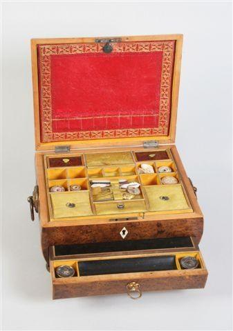 Regency burr yew wood sewing box in sarcophagal form