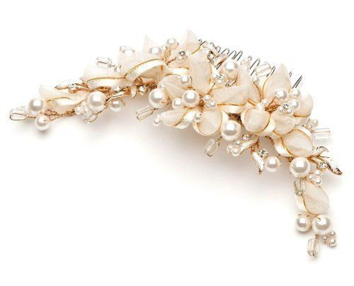 Ivory and Gold Ribbon Gold Bridal Comb USABride. $49.95