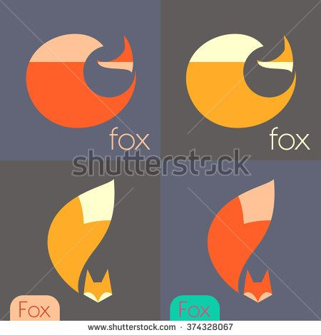 Set fox signs, illustrations, symbols of vector icons - stock vector