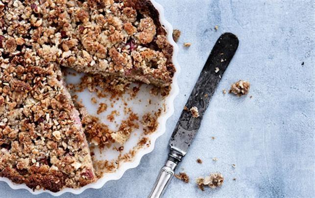 Rabarber-crumble tærte